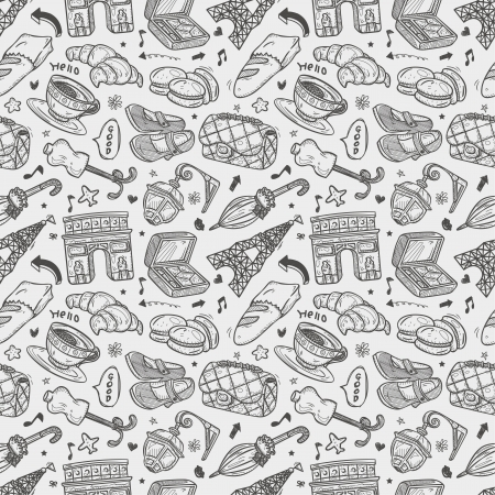 seamless doodle Paris pattern Vector