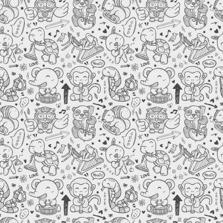 seamless doodle animal playing music pattern Vector