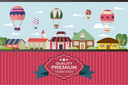 little town: city twon with hot air balloon card Illustration