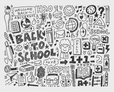 hand draw doodle school element Vectores