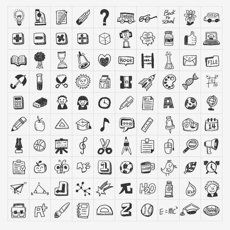 100 Terug naar school doodle hand tekenen pictogram set