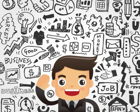Businessman and doodle business element background Stock Vector - 22474212