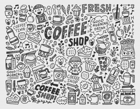 doodle coffee element background Vector