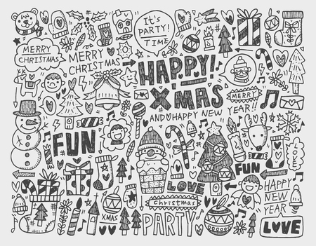 Doodle Christmas background Stock Vector - 22474216