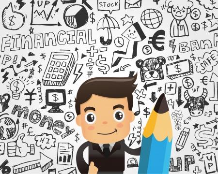 ビジネスマンおよび落書きのビジネス要素の背景