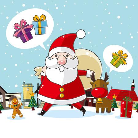 christmas bird: Christmas and New Year card Illustration