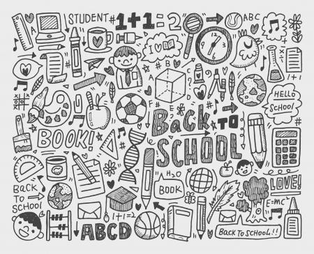 hand draw doodle school element Ilustração