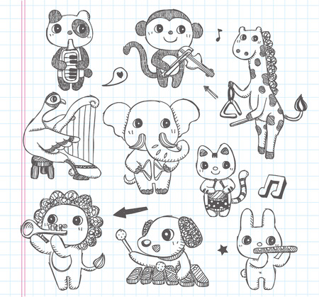 doodle animal music band icons set Vector