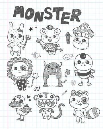 doodle cute monster icons Stock Vector - 22474224