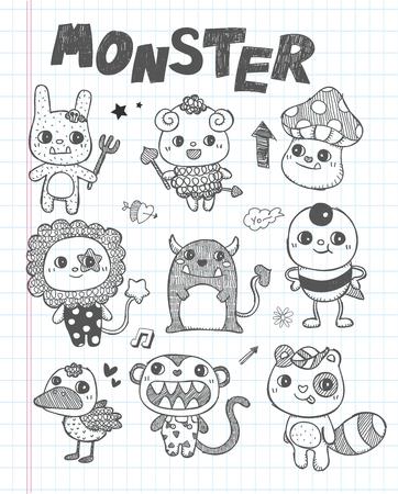 monster teeth: doodle cute monster icons
