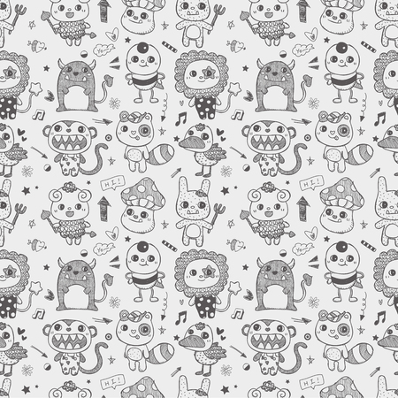 seamless cute doodle monster pattern background Stock Vector - 22474225