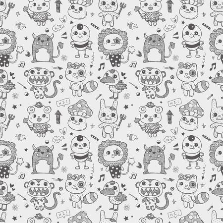 pattern monster: senza soluzione di continuit� Doodle carino mostro di fondo del modello