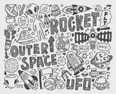 doodle space element Stock Vector - 22474228