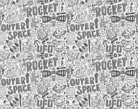 seamless doodle space pattern Ilustração