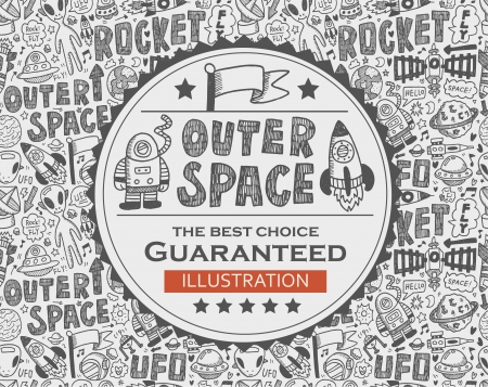 outer space doodle background Vector