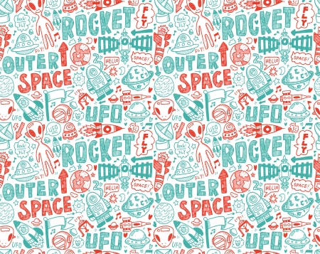 seamless doodle space pattern Stock Vector - 22474233