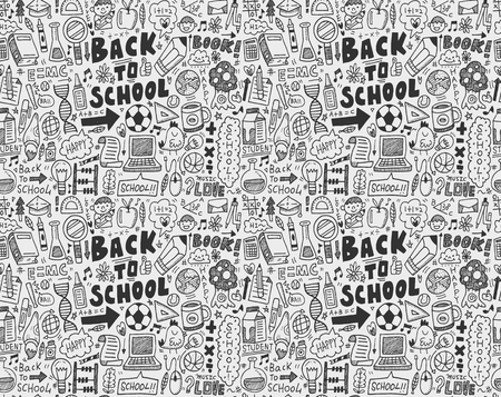 seamless doodle back to school pattern Vector