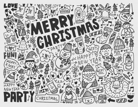 Doodle Christmas background Stock Vector - 22474251