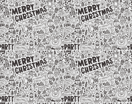 Seamless Doodle Christmas pattern Stock Vector - 22474253