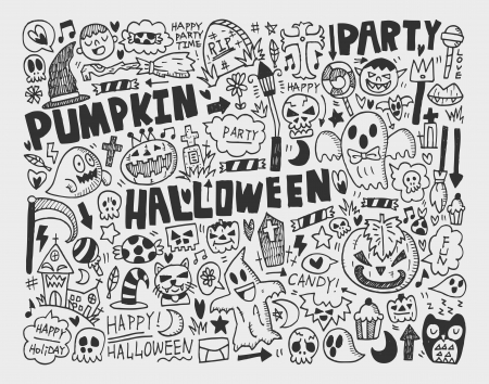 doodle halloween holiday background Stock Vector - 22771873