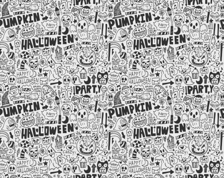 seamless doodle halloween holiday background Stock Vector - 23201859