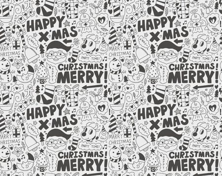 Seamless Doodle Christmas pattern Stock Vector - 22772260