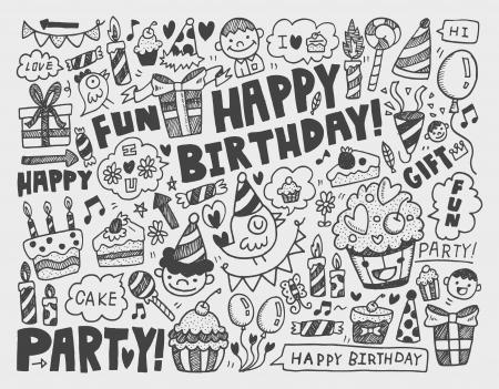 torta: Doodle fondo la fiesta de cumpleaños
