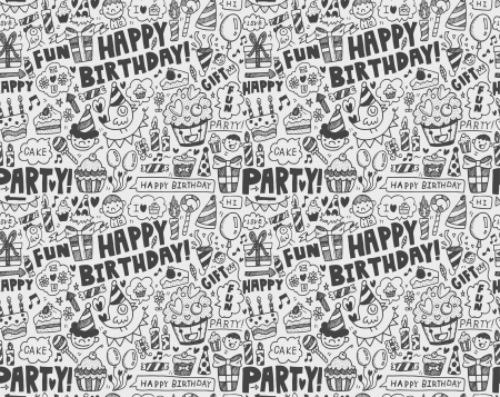 Seamless Doodle Birthday party pattern background Stock Vector - 22772264