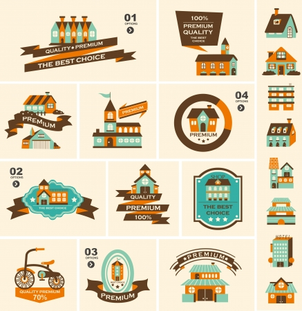 Retro house label set Vector