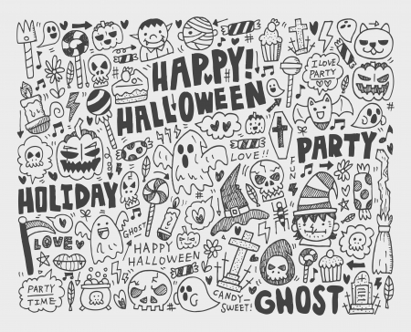 doodle halloween holiday background Stock Vector - 22772269