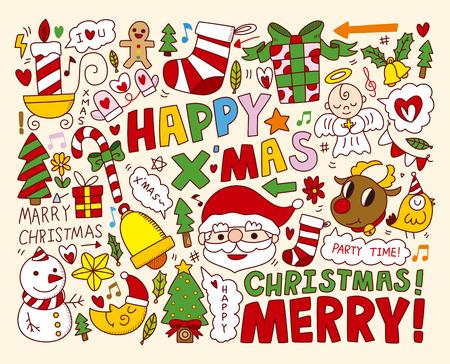 Natale icone oggetti Collection Vettoriali