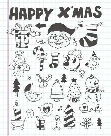 Doodle Christmas icon set Vector
