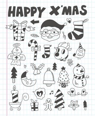 lightsdrawing: Doodle Christmas icon set