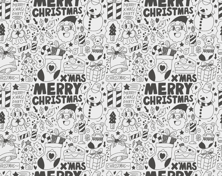 Seamless Doodle Christmas pattern Stock Vector - 22772328