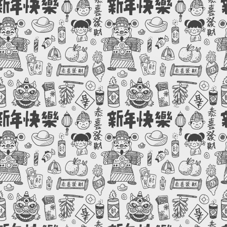 chinese new year pattern: Seamless Doodle Chinese New Year pattern background,Chinese word  Happy new year   Congratulatio n   Spring   Blessing  ;