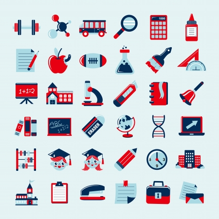 Retro education icons set,back to school Stock Vector - 23201935