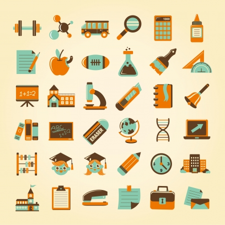 Retro education icons set,back to school Stock Vector - 23201937