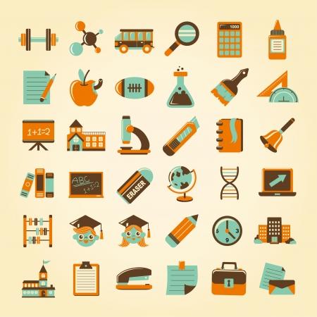 Retro onderwijs pictogrammen instellen, terug naar school Vector Illustratie