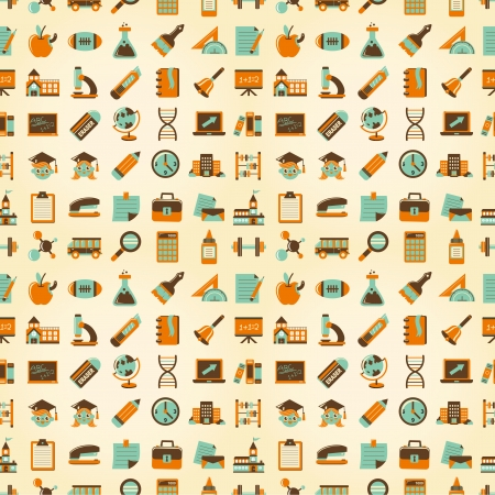 Seamless Retro education back to school pattern