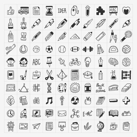 middle school: 100 Back to School doodle hand-draw icon set