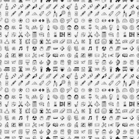 high school teacher: seamless doodle back to school element pattern background