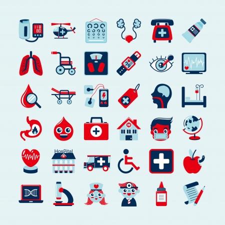 paciente en camilla: Iconos m�dicos fijados,