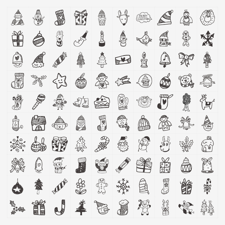 100 Doodle Christmas icon set Vector