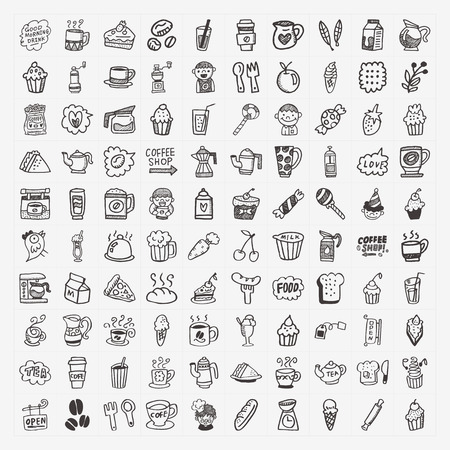 100 doodle coffee element icons set