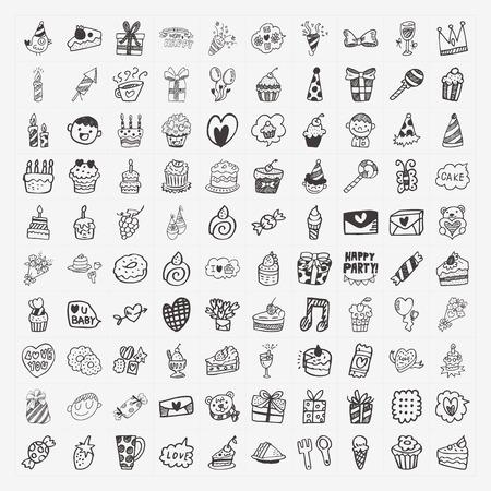birthday cupcakes: 100 Doodle Birthday party icons set Illustration
