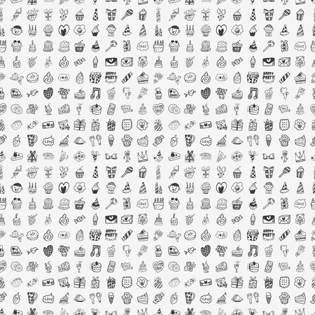 fiesta de cumpleanos: Seamless Doodle de la fiesta de cumplea�os de fondo de