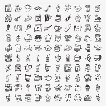 coffee jar: 100 doodle coffee element icons set