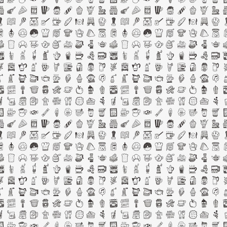 seamless doodle coffee pattern background Illustration