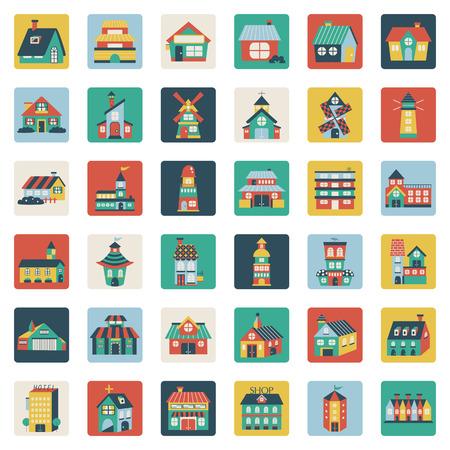 village house: Set of flat house icons