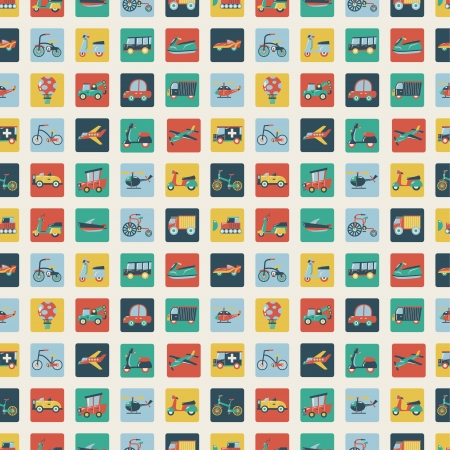 Retro flat transport seamless pattern Vector